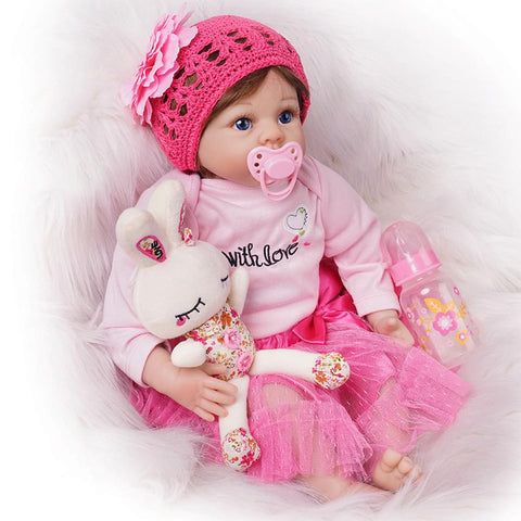 Reborn Baby Doll Girl Dark Pink Outfit with Toy Rabbit 22 Inches