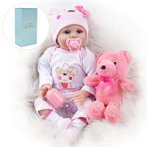 Myka-Lifelike Reborn Baby Doll Girl with Toy Bear