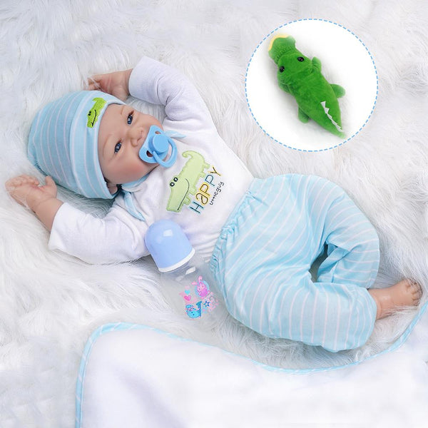 Ethan-Lifelike Reborn Baby Doll Boy with Toy Crocodile