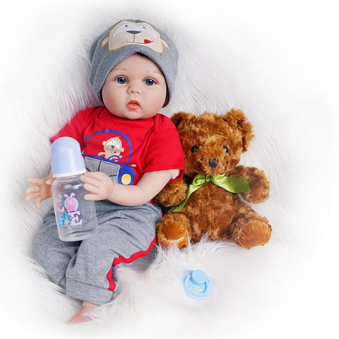 Peter-Lifelike Reborn Baby Doll Boy with Toy Bear