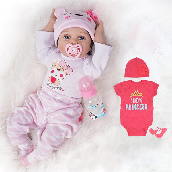 Myka-Lifelike Reborn Baby Doll Girl with Toy Bear 2 Outfits