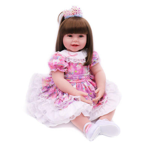 Realistic Reborn Baby Doll Girl Toddler Silicone Vinyl Pink Star Dress 24 Inches