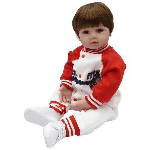 Reborn Baby Doll Toddler Silicone Vinyl Baseball Jacket White Pants White Shoes 24 Inches