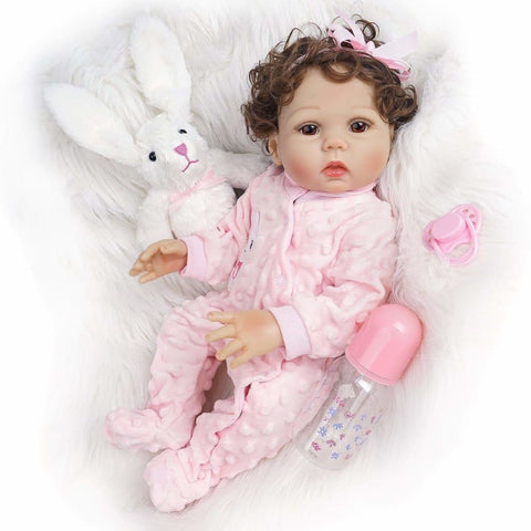 Addy-18 Inches Real Life Reborn Baby Doll Girl Full Silicone Body