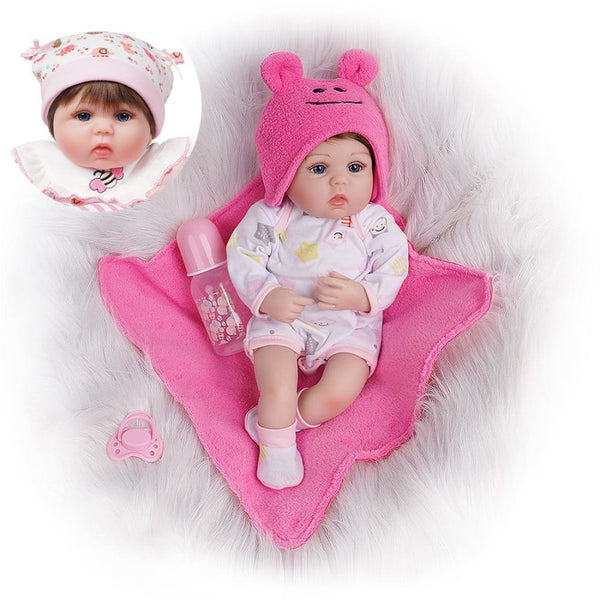 Effie-16 Inches Lifelike Reborn Baby Doll Girl 2 Outfits