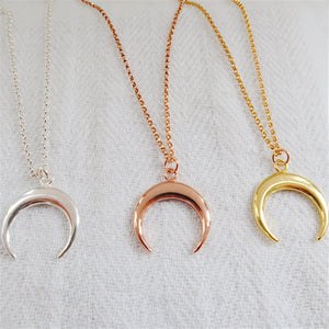 Crescent Moon Necklace - Sterling Silver, Gold, Rose Gold - emma-lamour