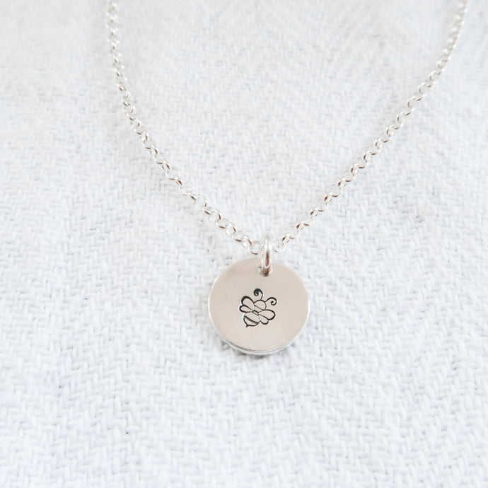 Bumble Bee Sterling Silver Disc Necklace - emma-lamour
