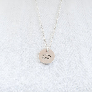 Mama Bear Sterling Silver Disc Necklace - emma-lamour