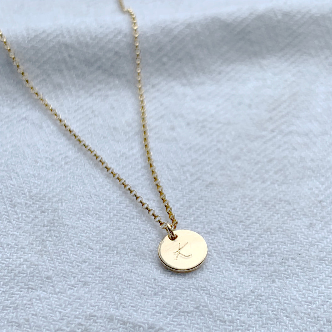 Personalised Gold Mini Disc Necklace - emma-lamour