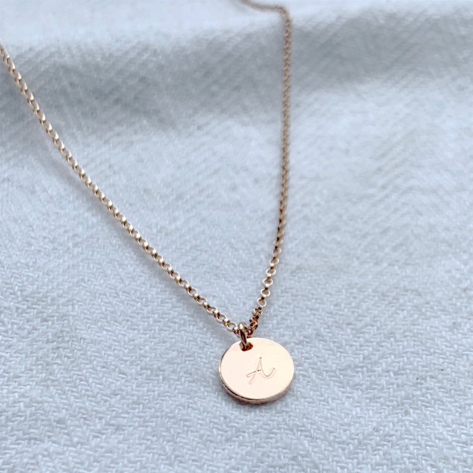 Rose Gold Mini Disc Necklace - Emma L'Amour