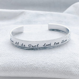 Silver Bangle - When Its Dark Look For The Stars - emma-lamour