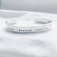 Load image into Gallery viewer, Silver Bangle - Hope . Courage . Strength - emma-lamour