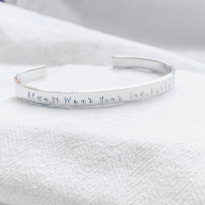 Silver Bangle - Always Wear Your Invisible Crown - emma-lamour