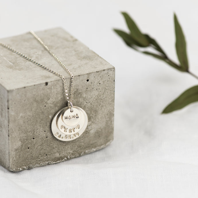 Personalised Stacked Special Message Sterling Silver Necklace - emma-lamour