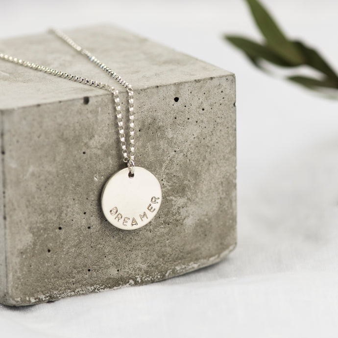 Silver Midi Disc Necklace - Emma L'Amour