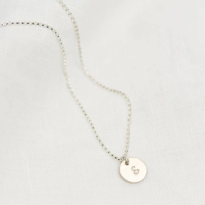 Silver Mini Disc Necklace - emma-lamour