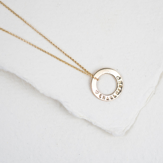 Personalised Gold Washer Message Necklace - emma-lamour