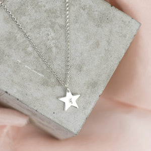 Silver Dainty Star Necklace | Initial Necklace - Emma L'Amour
