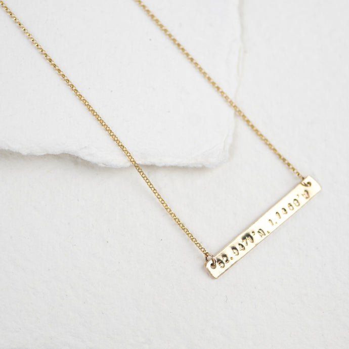 Personalised Gold Horizontal Bar Necklace - emma-lamour