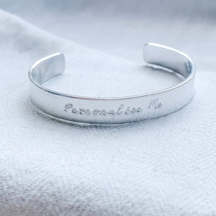 Personalised Chunky Silver Bangle - emma-lamour