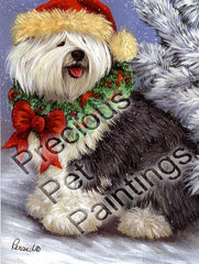 Old English Sheepdog Christmas-LF