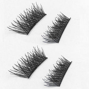 4pcs/set False Eyelashes 3D Magnetic Lashes Single Magnet Fake Eye Lashes Hand Made Strip Reusable Lashes Extension Makeup Set