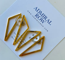 Load image into Gallery viewer, Double sided Gold Geometric Triangle Earrings