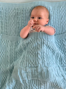 Organic Cotton Baby Blanket - Personalized - 75x100 cm