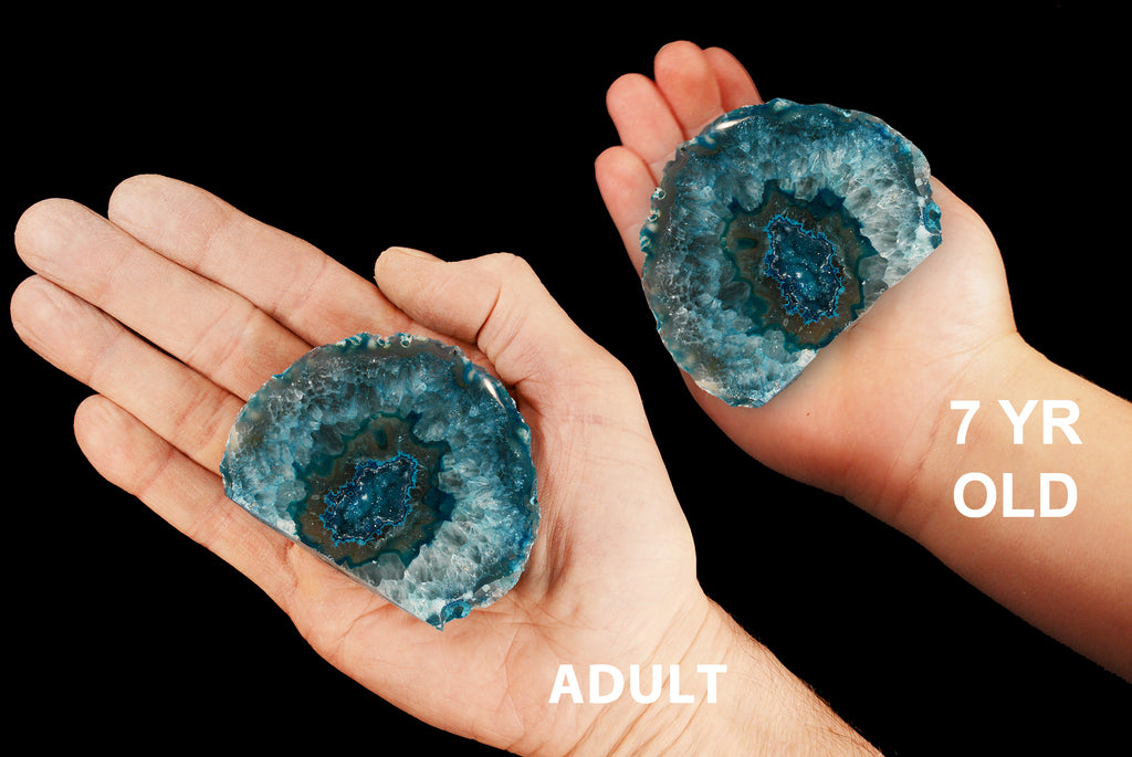 "Agate Geode Teal 3"" 8-12 Oz Throat Chakra"