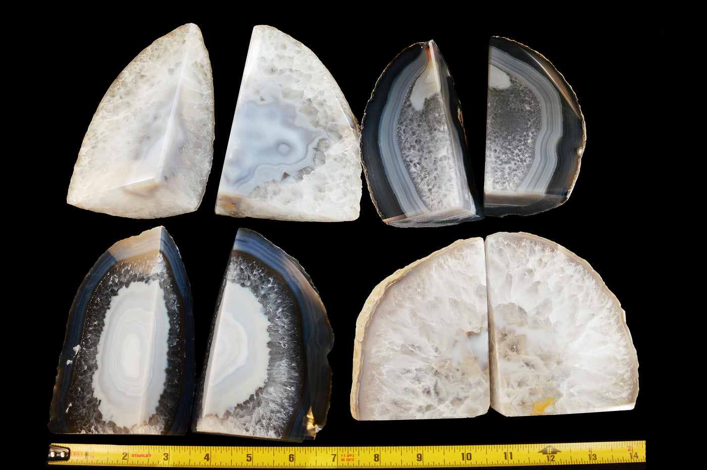 Natural geode bookends