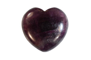 "Purple Fluorite Puffy Heart 1 3/4"" Crown Chakra"
