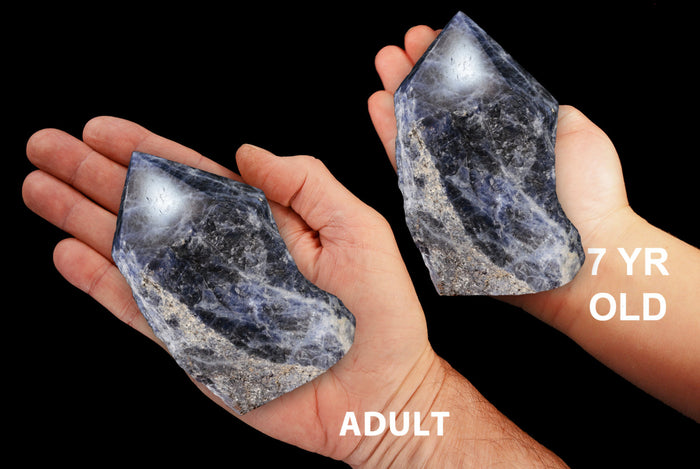 "Blue Sodalite Polished Top 4"" 12-14 Oz Throat Chakra"