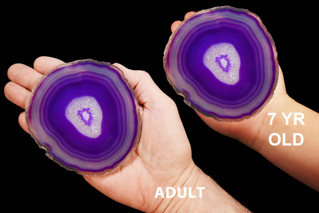 "Purple Agate Geode Slice 4"" to 5"" Crown Chakra - Kidz Rocks"