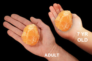 "Orange Calcite Crystal 2 1/2"" 9-11 Oz Sacral Chakra - Kidz Rocks"