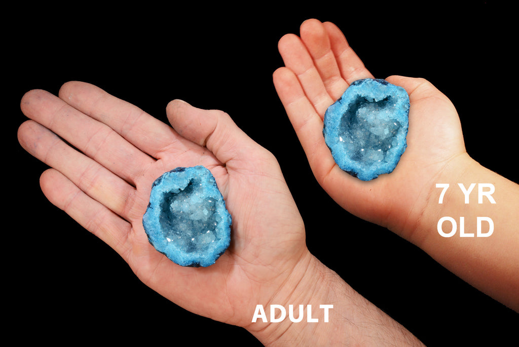 "Oco Agate Geode Teal 2 1/2"" Throat Chakra - Kidz Rocks"