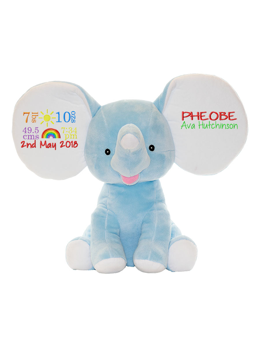Blue Elephant Cubbies Toy Personalised - Quick Customs