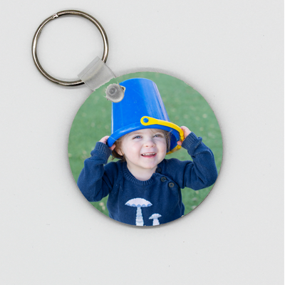 Wooden Round Photo Key Ring - Quick Customs