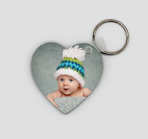 Wooden Heart Photo Key Ring - Quick Customs