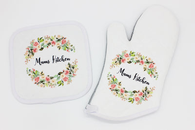 Personalised Oven Mitt and Pot Holder individual or as the set - Quick Customs
