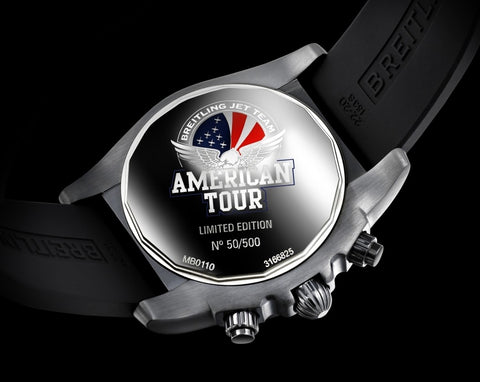 aviator watch breitling jeus  The timepiece in question proudly displays the Jet logo positioned at 12  o'clock and the caseback presents the Breitling Jet Team American Tour logo  with
