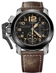 Graham Watch Chronofighter Oversize Black Sahara 2CCAC.B02A BOMBER LEATHER