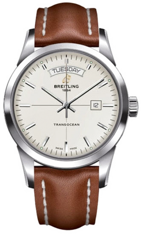 Breitling Watch Transocean Day Date Leather Tang Type