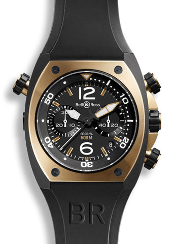 Bell & Ross Watch BR 02 Rose Gold & Carbon Chronograph