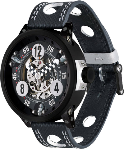 B.R.M. Watches RG-46 Checked Black Red Hands