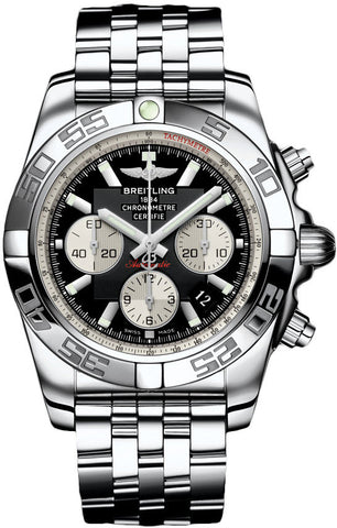Breitling Watch Chronomat 44 Onyx Black Pilot Steel Bracelet