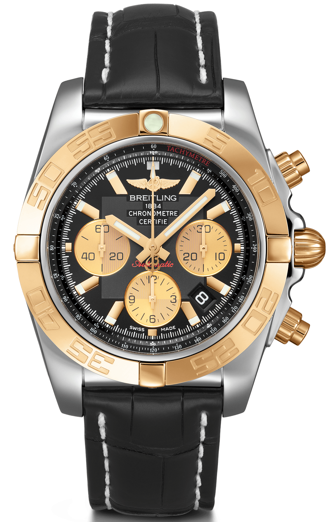 Breitling Watch Chronomat 44 Steel Gold Black Onyx