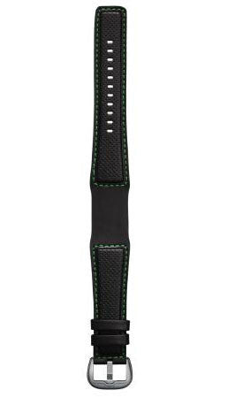 Dietrich Strap Perforated Leather Green Stitching Buckle Silver