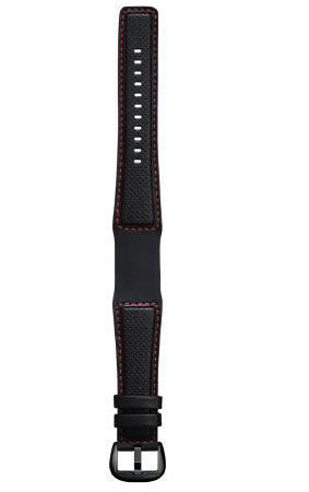 Dietrich Strap Perforated Leather Red Stitching Buckle Black