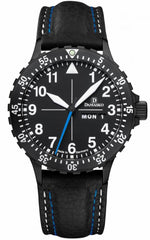 Damasko Watch DA 46 Black PVD Blue Hand Leather Pin