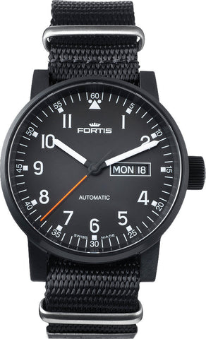 Fortis Spacematic Black Pilot Professional Day Date D